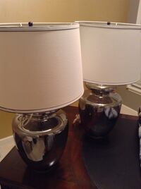 Two tinted glass  table lamps with lamp shades Brandywine, 20613