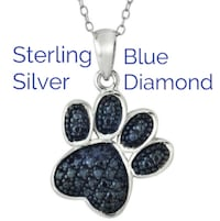 Sterling Silver Blue Diamond Accent Paw Print Pendant Necklace  Aldie, 20105
