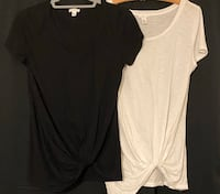 Black&White Twisted front Knot Tee Pair