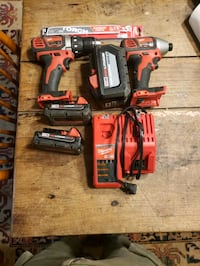 Drill, Impact Driver, 3 batteries, charger, Sawzall blades