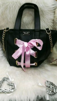 tote bag in pelle nera e rosa