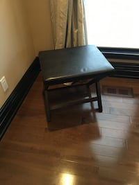 Black leather bench Laval, H7W