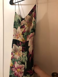 Black, pink, and green floral spaghetti strap dress New York, 10023