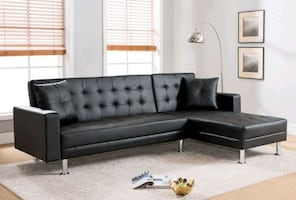 Black faux leather Sectional sleeper (new)