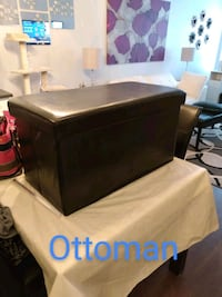 Black Leather Ottoman and Bench Richmond