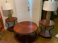3 piece wood set with lamps (Make Me An Offer)