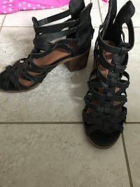 pair of black leather open-toe heeled sandals Halifax, B3P 1H3