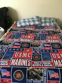 red, blue, and white USMC bed comforter