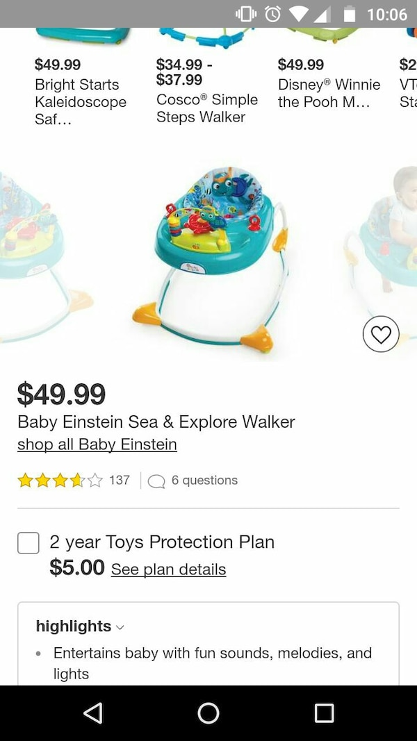 dd1364f8845f Used baby s white and green Baby Einstein Sea   Explore walker ...