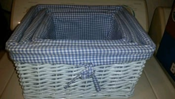 3 Rattan nesting baskets with gingham lining removable for washing EUC