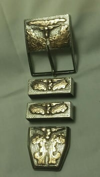 Sterling silver and gold , belt buckle western ,  Amarillo