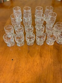 Vintage Set of 20 Etched Cordial/Sherry Glasses - 2 Different Sizes Kirkwood, 63122