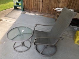 Patio lounge chair and glass table set
