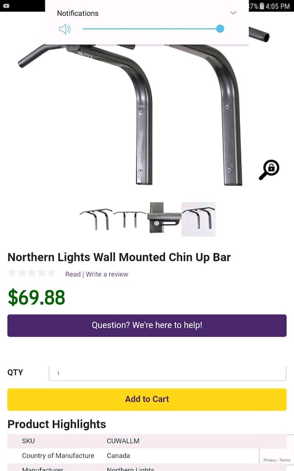 Northern light solid chin up /pull up bar  0