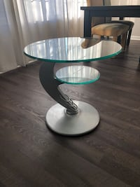 Set of 2 glass side tables with metal base. Aurora, 60502