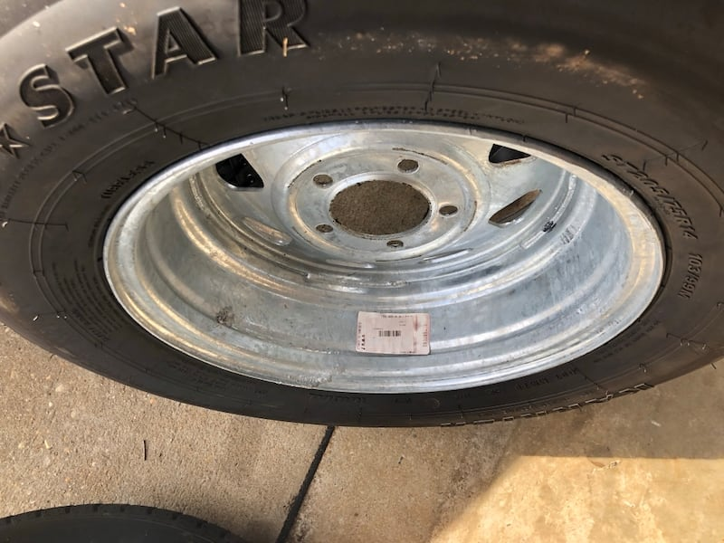 ST205/74R14 radial trailer tire with galvanized rims 5x4.5 3