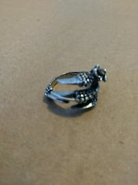 Silver plated steel claw ring Smyrna, 37167