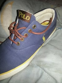 pair of blue and yellow polo low-top sneakers Belleville