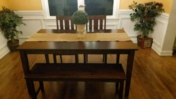 4 piece Dinning Room Table includes 2 chairs and 1 bench