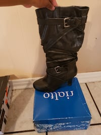 pair of black leather boots MOBILE