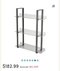 Three tiered acrylic and metal shelf unit