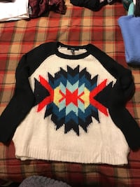 white, blue, red and black tribal print knit sweater Fishkill, 12524