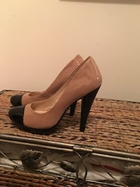 Pair of brown leather platform stilettos Clinton, 20735