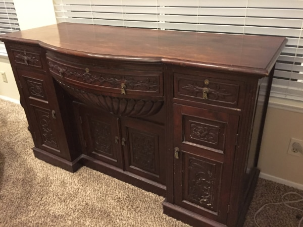 Antique Chinese Teak Wood Sideboard From Singapore