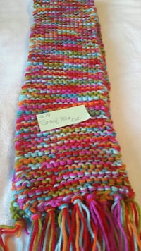 multi colored knitted fringe scarf