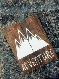 Handpainted Mountain Silhouette Wood Sign