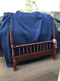 Gorgeous real wood bed frame with a few fixable flaws