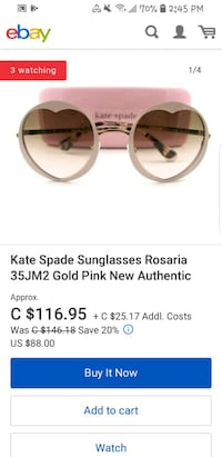 Kate spade heart pale pink and gold sunglasses