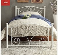 white metal bed frame with mattress Brampton, L6Y