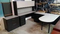 OFFICE DESK L-SHAPE AND CREDENZA WITH HUTCH.