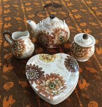 white and brown  floral tea set 522 km
