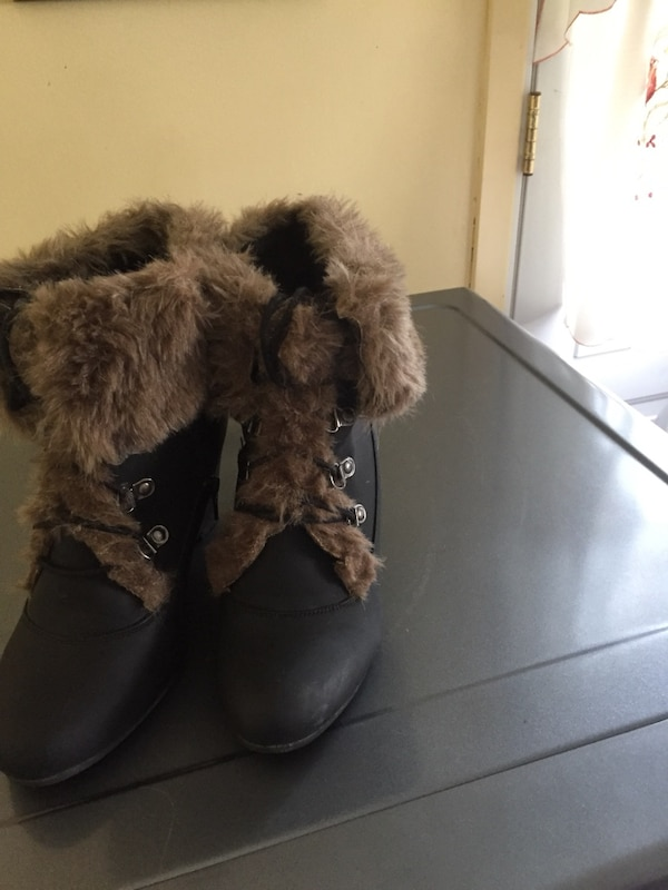 Pair of black fur boots