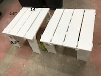 PAIR OF RE Portable Folding White Accent Plastic Table (2 TABLE)