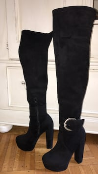 Nordstrom size 7M Black suede over knee boots with 6 inch heels