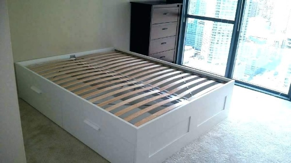 Ikea Queen Sized Bed W Under Storage Drawers
