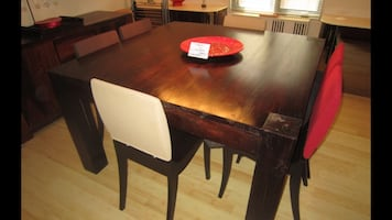 Square solid brown wooden table