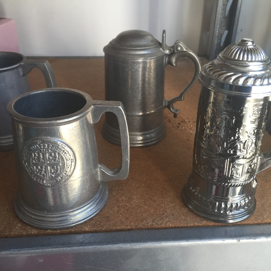 Used 4 Pewter Steins One Glass Silver Lid In Belville