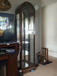 brown wooden framed glass display cabinet Canandaigua, 14424