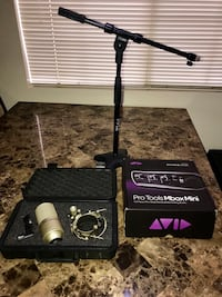 Studio mic and interface with stand pro tools mbox mini MXL 990 condenser mic mic North Las Vegas