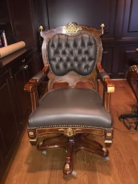 Italian leather desk chair with brass Vienna, 22182