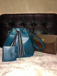 lv epi noe blue leather bag and wallet