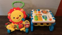 yellow and red Fisher-Price lion musical walker; white and blue learning table