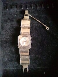 round silver-colored analog watch with link bracelet Guelph, N1E 4C1