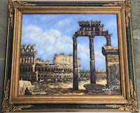 "Antique gold framed painting of Roman architecture 31x27"" Ashburn, 20148"