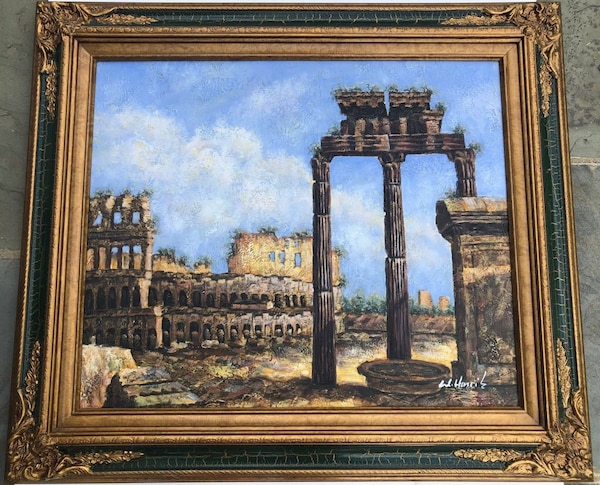 """Antique gold framed painting of Roman architecture 31x27"""""""