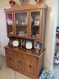 brown wooden framed glass display cabinet Lawrence, 01841